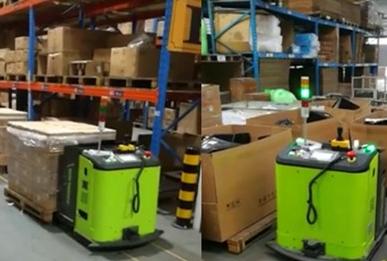 中联重科工业车辆公司新近研发下线的AGV搬运叉车