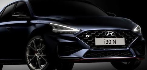 现代汽车透露了更新版i30 N的第一张预告片图像