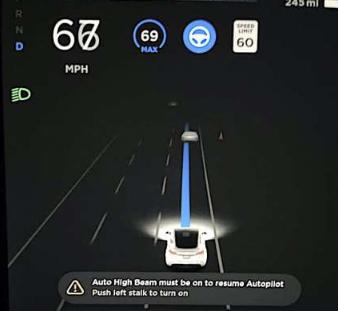 新特斯拉Y型车主报告自动驾驶仪远光灯问题